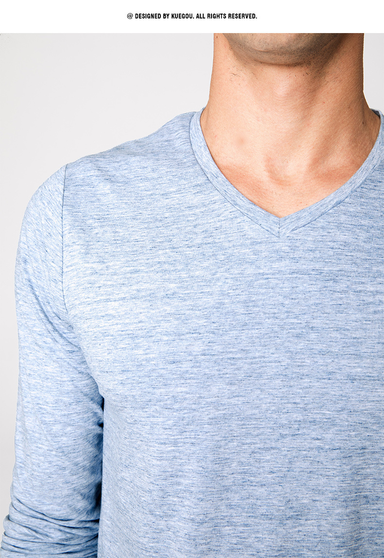 Autumn Men T Shirt Cotton V-Neck Blue Color For Man Casual Long Sleeve Slim Fit T-Shirt Male Wear 2018 New Tops Tee Shirt 268 14