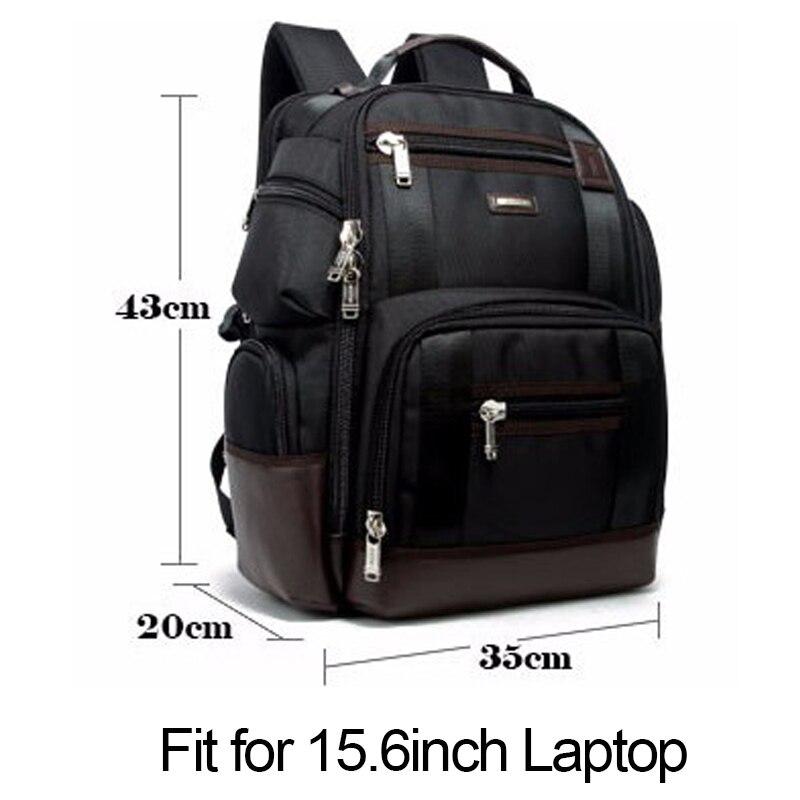 Multifuncional Popular 2018 de alta calidad de cuero genuino mochila grande para hombre bolsa de ordenador portátil mochila negra de negocios ipad bolsa de viaje - 3