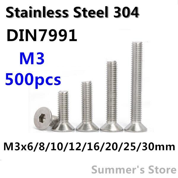 500pcs/lot Din7991 M3 Stainless Steel Hex Socket Flat Head Cap Screw M3*6/8/10/12/16/20/25/30mm Countersunk Head Screw Bolt Possessing Chinese Flavors