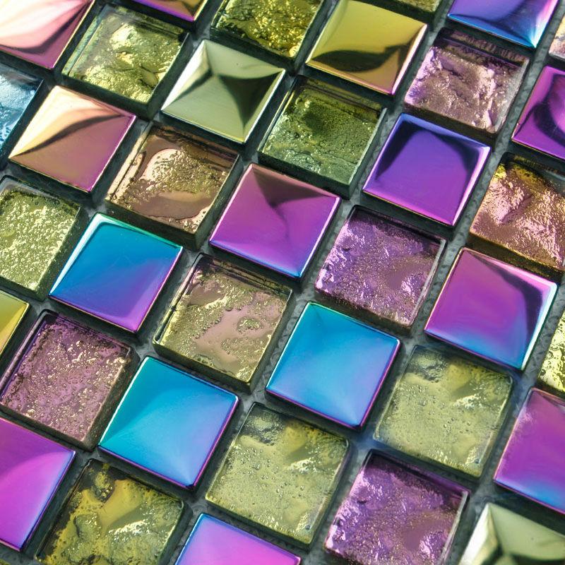 Iridescent Glass Mosaic Tile Backsplash Mesh Mounted Metal