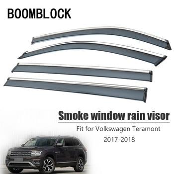 High Quality 4pcs Smoke Window Rain Visor For Volkswagen VW Teramont 2018 2017 Styling Vent Sun Deflectors Guard ABS Accessories