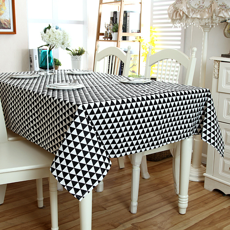 SunnyRain 1-Piece Monochrome Linen Cotton Geometric Table Cloth Square Tablecloth Rectangle Table Cover Table Linen