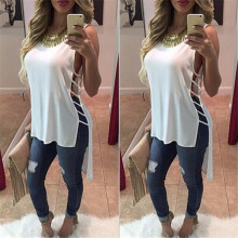 Модная летняя Женская Макси-рубашка, Повседневная Блузка на бретелях, без рукавов, с вырезами по бокам, топы с круглым вырезом, рубашки, свободная рубашка, блузы