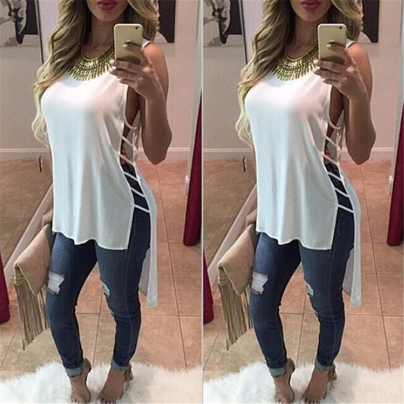 Fashion Summer Women Maxi Shirt Casual Tank Blouse Sleeveless Side Hollow Out Tail Tops Round Neck Shirts Loose Shirt Blusas