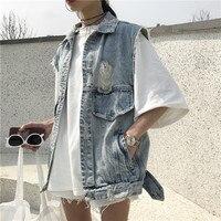 2017 Vintage Denim Vest vrouwen Mouwloze Vest Gewassen Ripped Hole Studs Jean Taille Jasje Bovenkleding F251