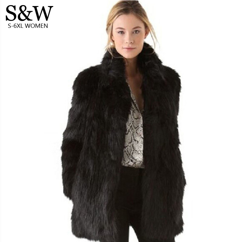 White/Black Faux Fur Coat Women Winter Coat Medium-long Rabbit Fox Fur Coats Plus Size XXXL 4XL 5XL Women's Fur Jacket Big Size femme платье