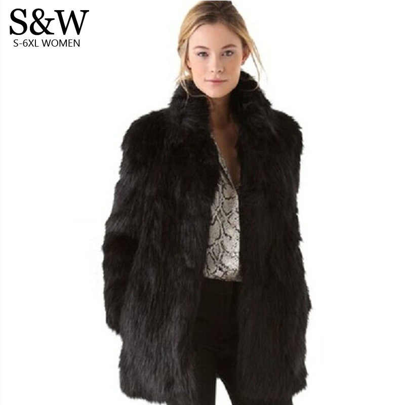 8191ae5f3c2 White Black Faux Fur Coat Women Winter Coat Medium-long Rabbit Fox Fur Coats