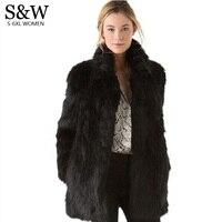 White/Black Faux Fur Coat Women Winter Coat Medium long Rabbit Fox Fur Coats Plus Size XXXL 4XL 5XL Women's Fur Jacket Big Size