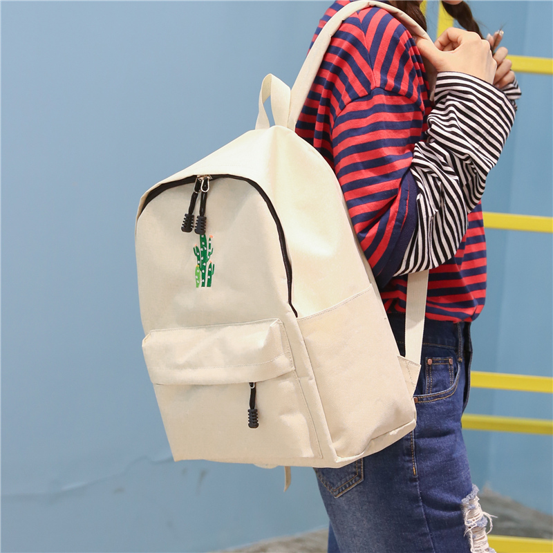 New Cactus Embroidery Simple Canvas Backpack Students School Women Girl Rucksack Mochila Escolar Women Backpack (25)