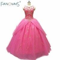 Горячая розовые Бусы Роскошные бальные платья Бальные платья 2019 Praty платья для девочек до 15 Vestido de Festa Бальные платья