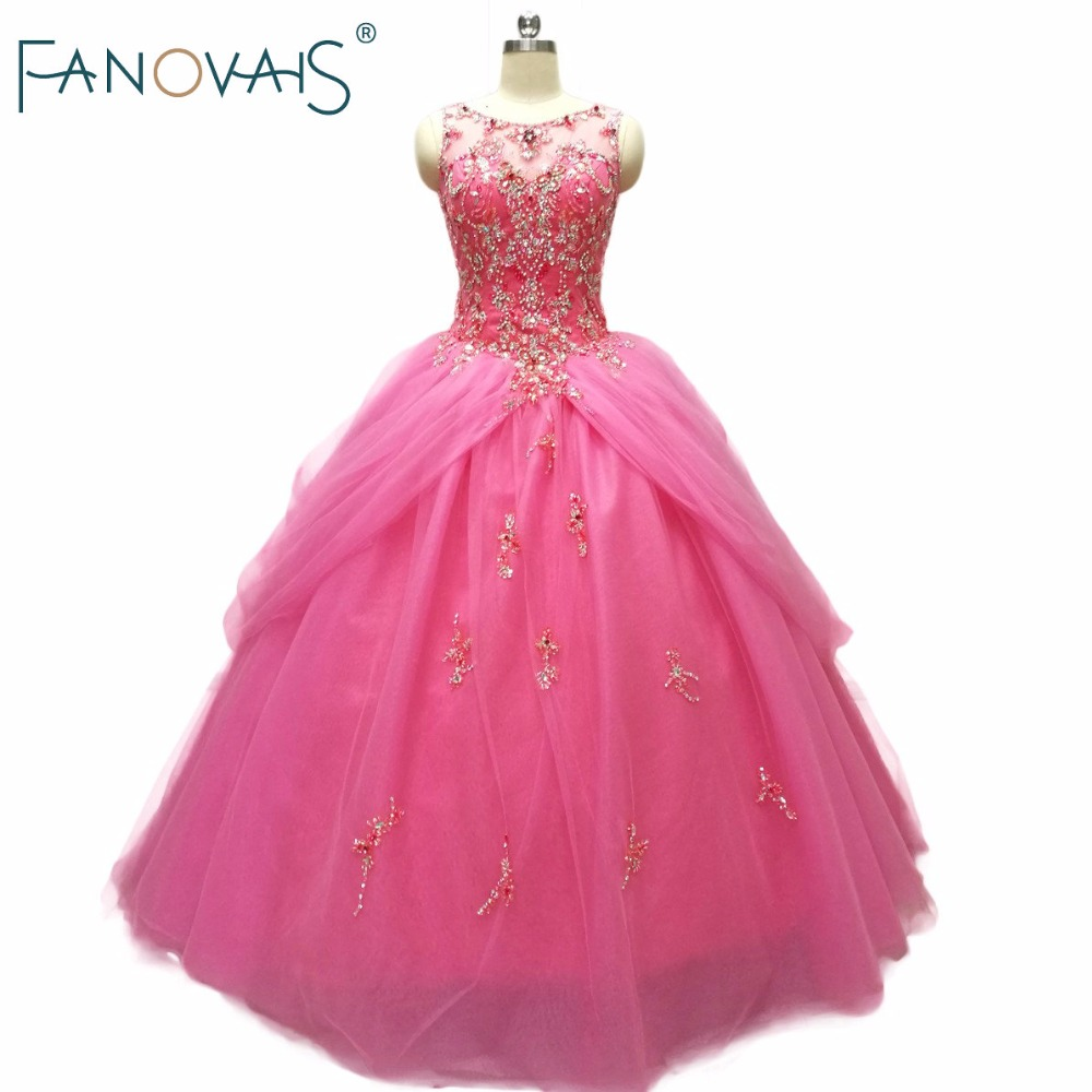 Hot Pink Beads Luxury Quinceanera Dresses Ball Gowns 2019 Praty Gowns For Girls under 15 Vestido de Festa quinceanera gowns