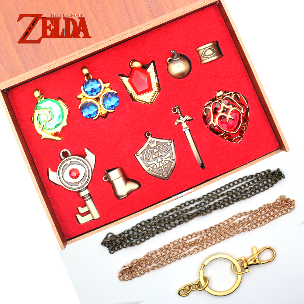 OHCOMICS 10PCS Game The Legend of Zelda Link Mask Shield Sword Metal Keychain Keyring Necklace+Yellow Box Costume Pendants Decor