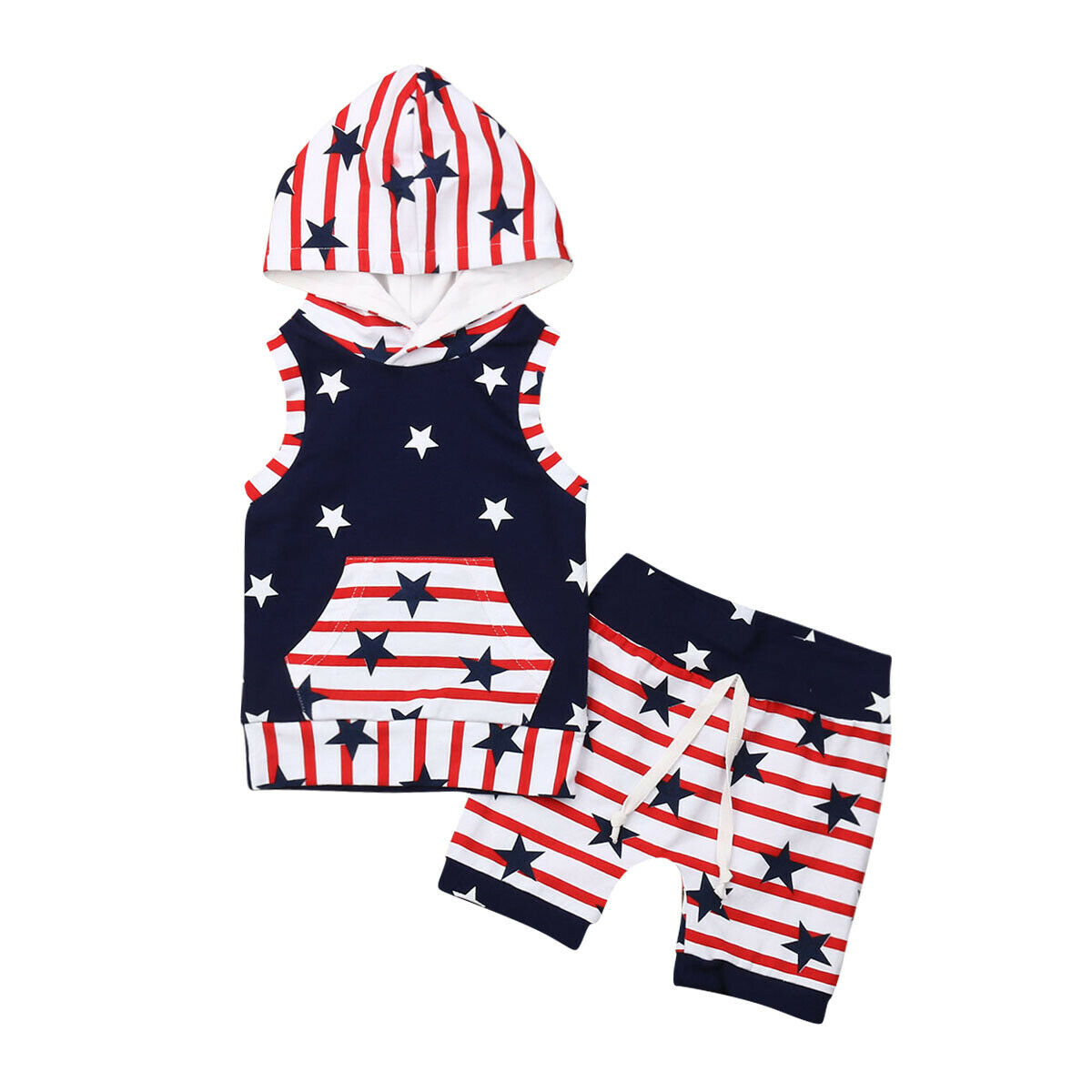 Infant Baby Girl Kid Summer 4th of July Stripe Star Vest Sleeveless Dress Outfit