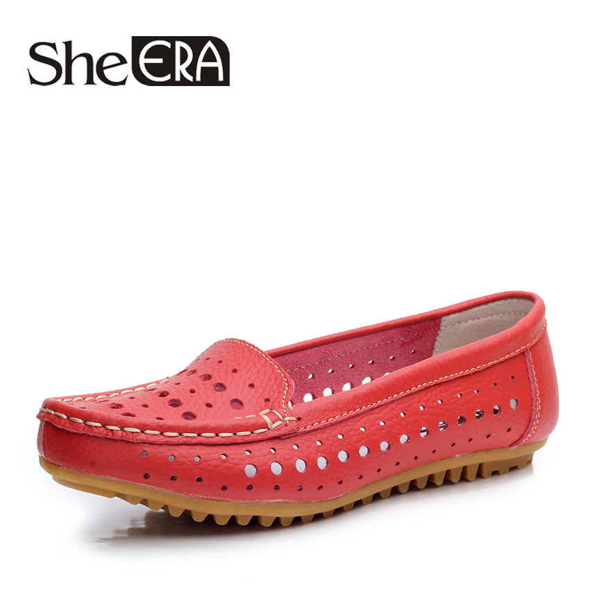 She Era 2017 Summer Cut Out Women Split Leather Shoes Woman Flat Flexible Round Toe Casual Fashion Loafers Blue/Rose Red
