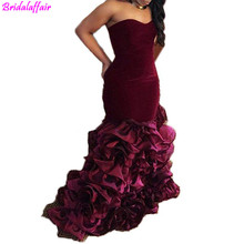 Custom Made robe de soiree Mermaid Evening Dresses Burgundy Velvet Long V Neck Prom Gowns for Women