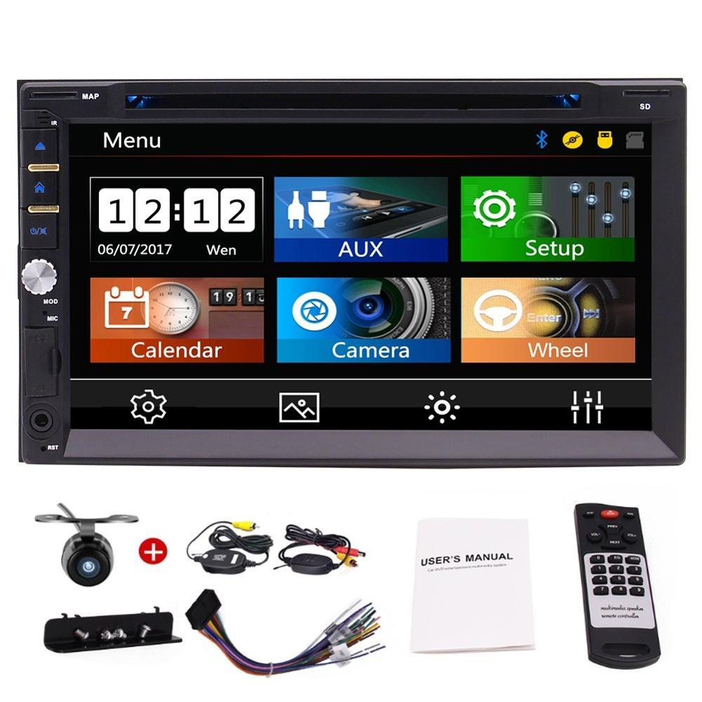 7 Double 2 DIN Car GPS DVD Player Bluetooth Stereo Radio Head Unit Support AM/FM AUX USB/SD Subwoofer Back up Camera included7 Double 2 DIN Car GPS DVD Player Bluetooth Stereo Radio Head Unit Support AM/FM AUX USB/SD Subwoofer Back up Camera included