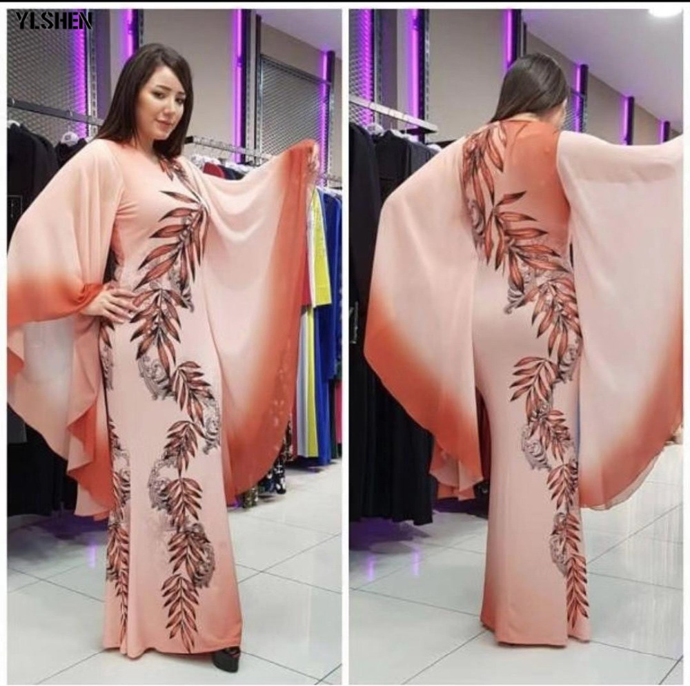 New African Dresses for Women Dashiki Print African Clothes Bazin Riche Sexy Slim Ruffle Sleeve Long Africa Maxi Dress Woman 03