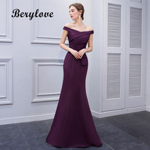 BeryLove Simple Mermaid Lila Satin Aftonklänningar 2018 Long Off Shoulder Evening Gowns Formell Aftonklänning Prom Dress
