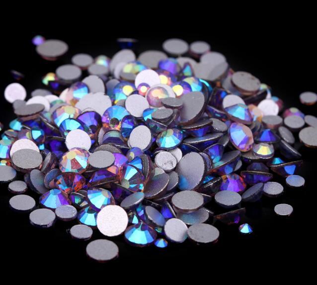 Lt. Аметист AB ss3,ss4,ss5,ss6,ss8,ss10,ss12,ss16,ss20,ss30 плоский кристалл без горячей фиксации клей для дизайна ногтей на Стразы