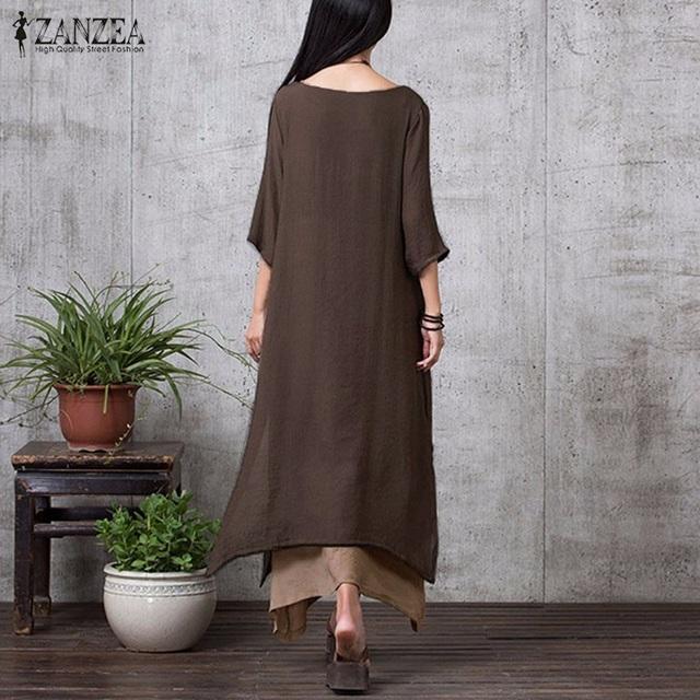 ZANZEA Fashion Cotton Linen Vintage Dress 2017 Summer Autumn Women Casual Loose Boho Long Maxi Dresses Vestidos Plus Size