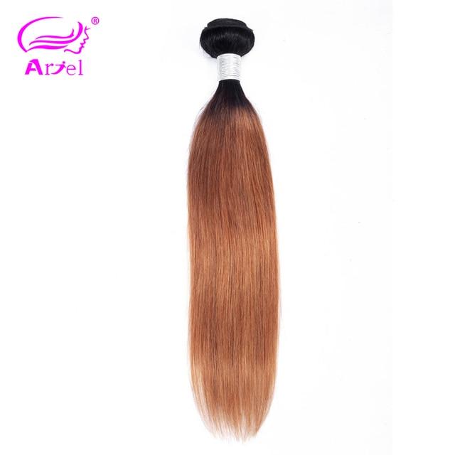 Pelo de ARIEL 1 pieza pelo malayo paquetes rectos T1B/30 Ombre cabello humano armadura paquetes marrón Ombre no Remy extensiones de cabello
