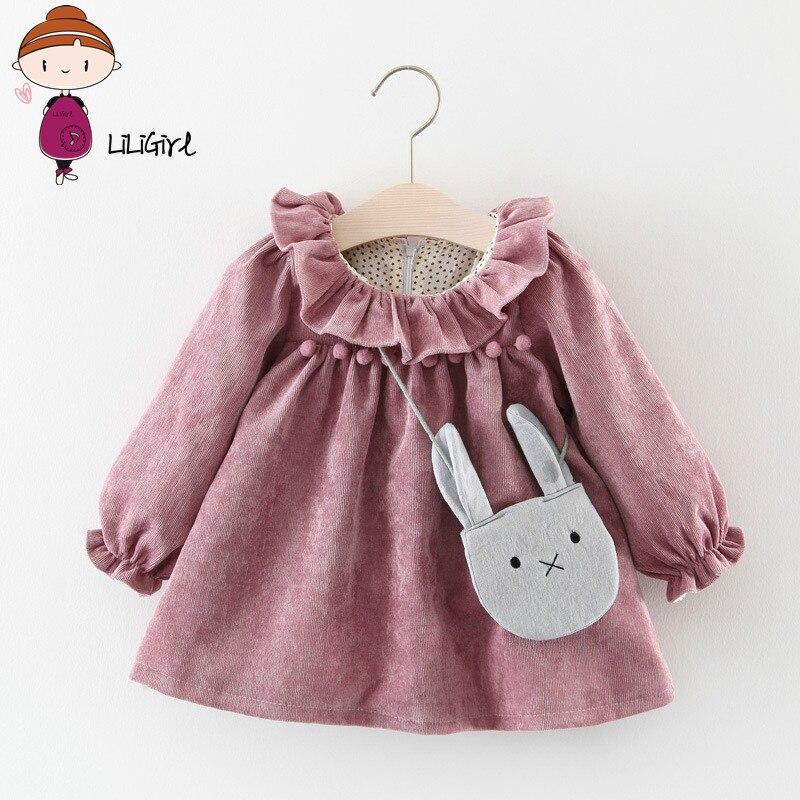 LILIGIRL Baby Dresses For Girls Spring Autumn Long Sleeved Lotus Leaf Collar Pocket Doll Dress + Bag 2Pcs Clothing Set ...