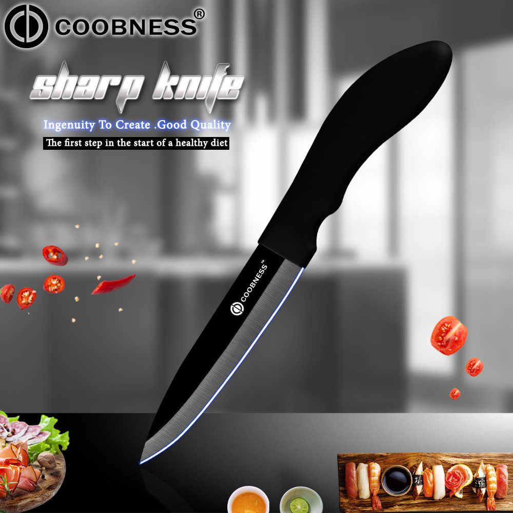 COOBNESS Acessórios Única Lâmina Preta Faca de Cozinha Facas de Cozinha de Cerâmica 3 4 5 6 polegada Fruit Utility Chef Slicing Knife presente