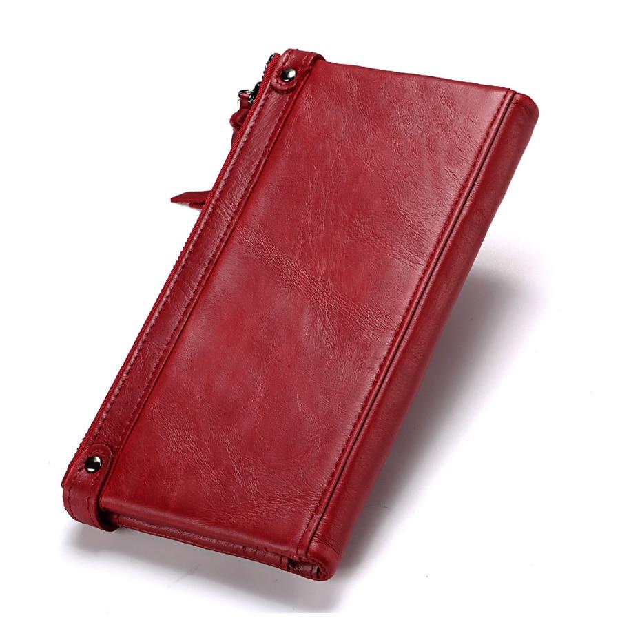 Véritable cuir femmes Long portefeuille coques de téléphone 5.5 pouces pour iPhone femelle fermeture éclair pince pour argent pochette porte-monnaie porte-carte - 2