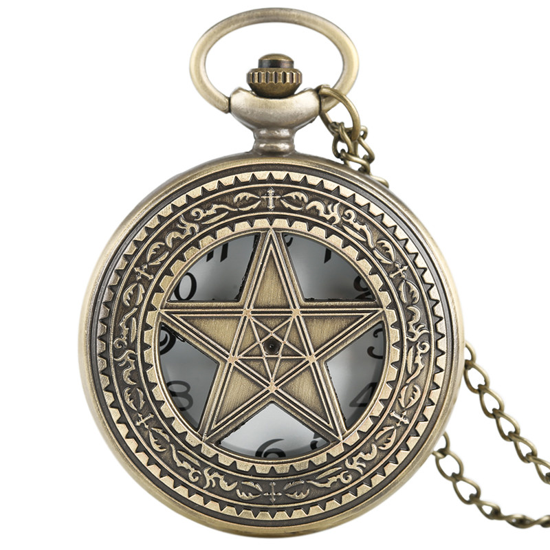 Vintage Bronze Half Hunter Quartz Pocket Watch Double Filve Star Center Pendant Men Women Fob Clock Gift With Necklace