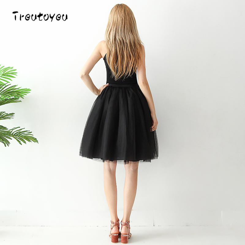 5f4caf98ee8 High Waist 7 Layer Midi Tulle Skirt Black Tutu Skirts Womens Petticoat  Elastic Belt Summer 2018 ...
