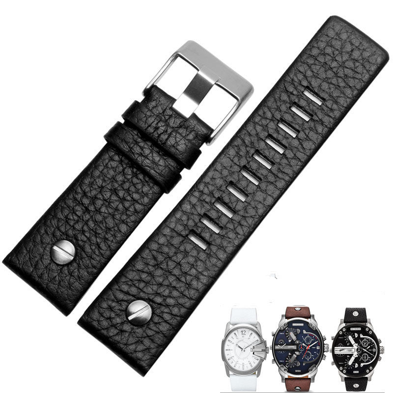 MERJUST 22mm 24mm 26mm 28mm 30mm Black Brown White Leather Strap For Diesel DZ DZ7257 DZ4318 watchband Wristband With rivet-in Watchbands from Watches