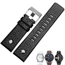 MERJUST 22mm 24mm 26mm 28mm 30mm Black Brown White Leather Strap For Diesel DZ DZ7257 DZ4318 watchband Wristband With rivet