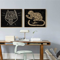 Mysterious Cat Head And Monkey Eating Peanuts Abstract Painting Picture Nordic Minimalist Canvas Art Poster For