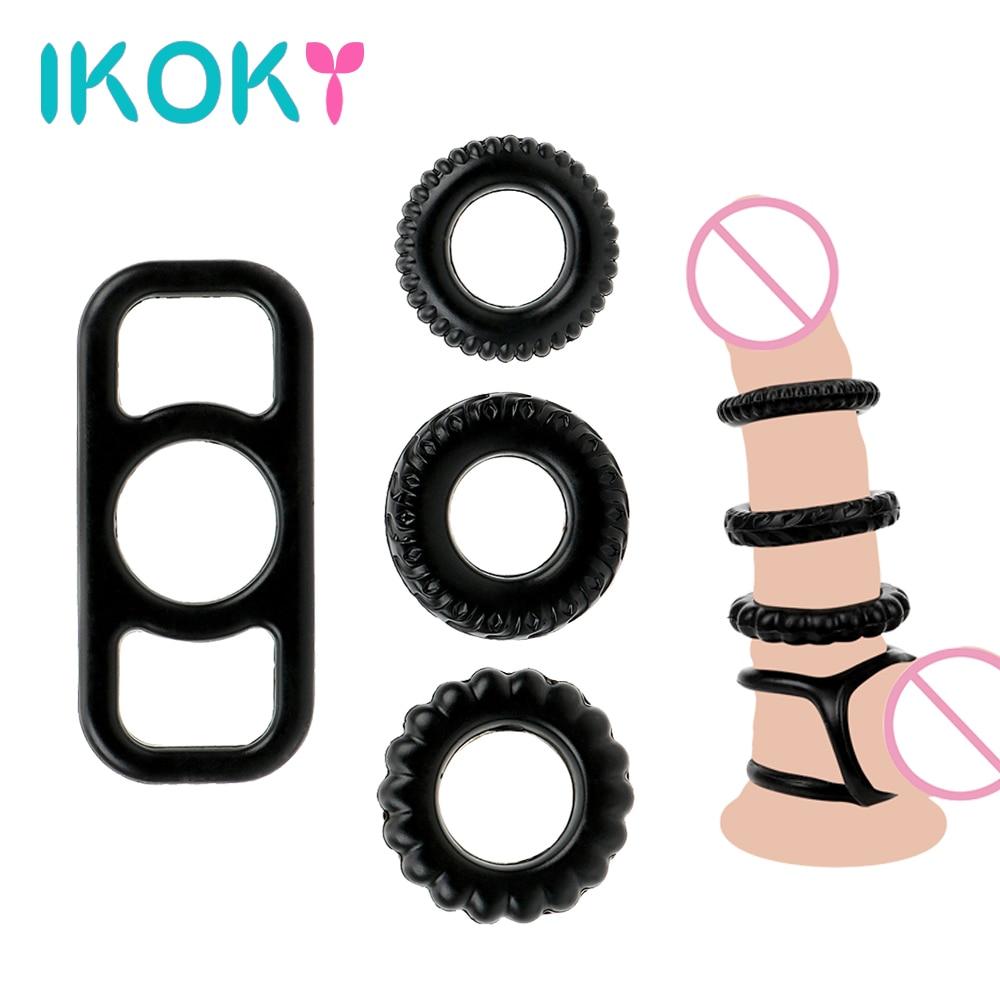 Ikoky Elastische Cock Ring Penis Ring Scrotal Bindung Sex Spielzeug Für Männer Männliche Erwachsene Produkte Verzögerung Ejakulation Silikon Sexspielzeug Penisringe