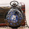 Luxury Steampunk Hollow Skeleton Mechanical Pocket Watch Roman Numerals Dial Vintage Fob Chain Pendant Clock Men