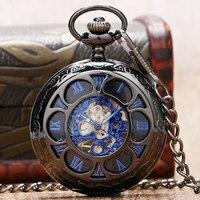 Luxury Steampunk Hollow Skeleton Mechanical Pocket Watch Roman Numerals Dial Vintage Fob Chain Pendant Clock Men