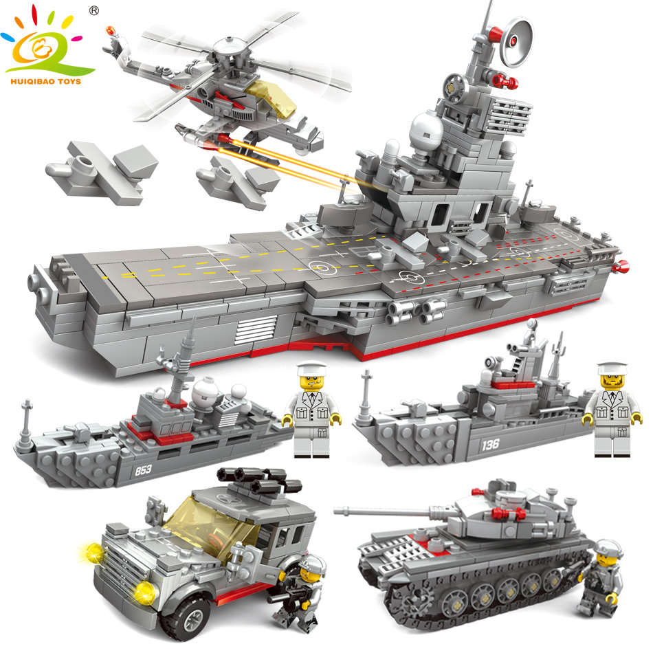 HUIQIBAO JOUETS 861 pcs 5in1 Armée Navire de Guerre Blocs de Construction Pour Enfants Compatible Legoed Militaire WW2 Camions réservoir Hélicoptère Briques