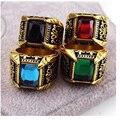 Moda titanium ouro/prata banhado anel de cristal para homens de aço inoxidável quadrado de pedra homens anel de dedo jóias acessórios masculinos