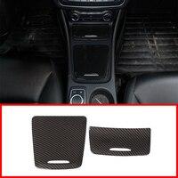 2Pcs Carbon Fiber ABS Center Storage Box Panel Trim Ashtray Cover For Mercedes Benz CLA GLA A Class W117 W176 A180 2014 2017