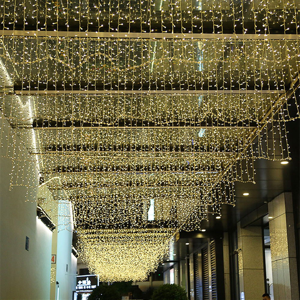 2019 New Year Indoor 4M 13ft Droop 0.4m 0.5m 0.6m LED String Light Curtain Icicle Fiary Garland For Home Decoration Christmas