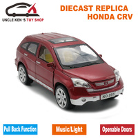 1/24 Scale 20Cm Length Diecast HONDA CRV Model Car Toys For Boys/Kids With Gift Box/Openable Door/Music/Pull Back Function/Light
