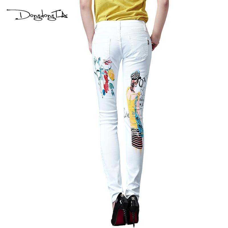 Dongdongta Yeni Kadın Kızlar Kot 2017 Orijinal Tasarım Beyaz Renk - Bayan Giyimi - Fotoğraf 2