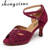 shengzixue Diamond velvet Latin dance shoes adult female high heeled summer square dance sandals soft outsoleheel 7.5cm