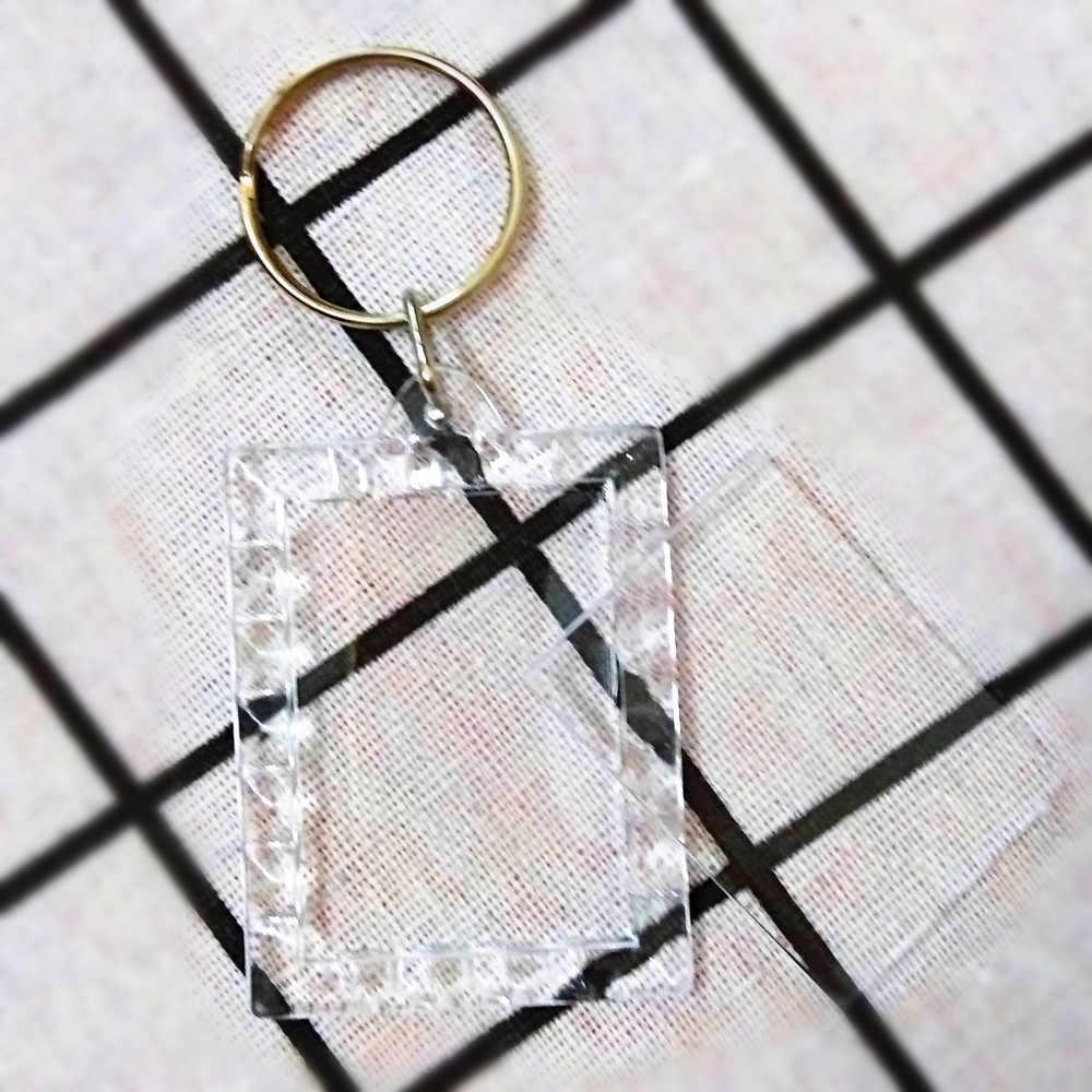 1 pcs Rectangular lace Transparent Blank Photo Picture Frame Key Ring Split Ring keychain Gift For Men Women