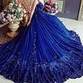 Sexy profunda v-cristal beading tulle do vestido de casamento azul escuro tema fotografia vestido de noiva 2017 vestido de noiva serene hill