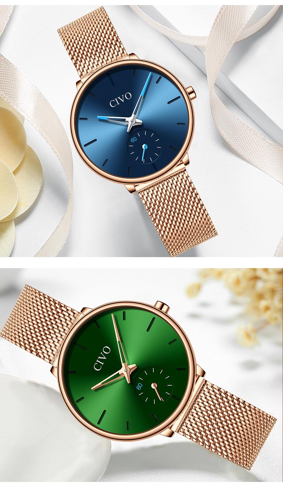 CIVO Luxury Casual Ladies Watch Waterproof Rose Gold Steel Mesh Quartz Watch Women Fashion Dress Watches Clock Relogio Feminino 12