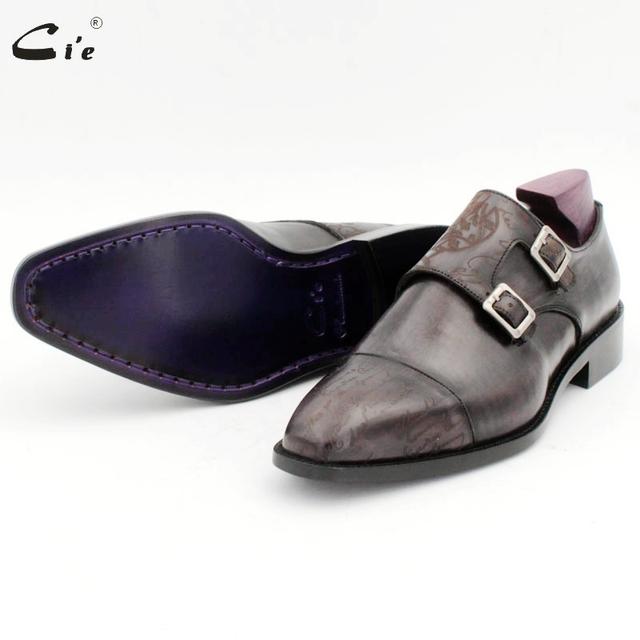 cie Square Captoe Double Monk Straps Carving Design Full Grain Calf Leather Blake Stitch Men's Dress Office Shoe Elegant MS156