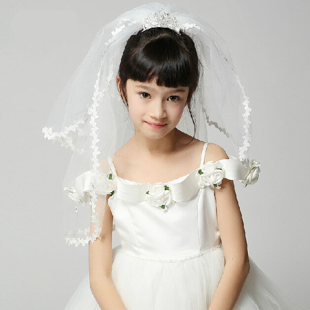 Fashion Two Layers Lace Veil Crown Tiara Bridal Flower Girl Little