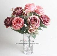 Różowy 12 głowice/Stem Rose Bukiet Róży Bukiet Piwonia Tabeli Dekoracji Sztuczny Kwiat Kwiat Ślub Event Party Darmowa Wysyłka