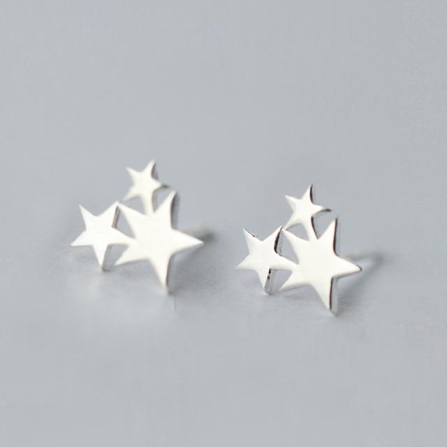 100% 925 Sterling Silver Ba Sao Stud Earrings Phụ Nữ Ngăn Ngừa Dị Ứng Brincos pendientes mujer moda 2018 Brincos A123